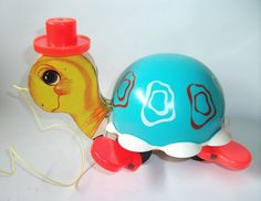 Vintage Fisher Price Tip Toe Turtle Animal Pull - loved mine even though his wooden face faded in the sun!