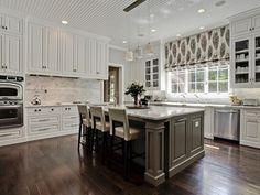 grey backsplash | White Kitchen, grey island, neutral backsplash. ... | Welcome to my...