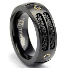 Oliveti Black Plated Titanium Men's Steel Cable and Black CZ Band (8 mm)