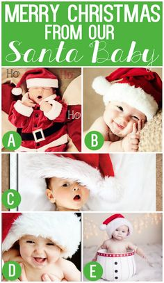 101 Creative Christmas Card Ideas: Merry Christmas from our Santa Baby Baby Christmas Photos, Xmas Photos, Newborn Christmas, Babies First Christmas, 1st Christmas, Christmas Quotes, Funny Christmas, Christmas Trees, Christmas Crafts