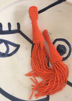 """#newarrivals #orange #beaded #fringe #earrings #accessories #thefrankieshop #frankienyc #frankiegirl Beaded Drop Earrings w/Metal Post for Pierced Ears 5.75""""L x Approx 1/2"""" W Imported"""