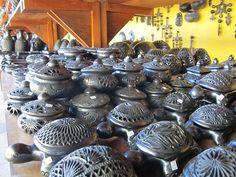 Beautifully decorated barro negro from Oaxaca state.
