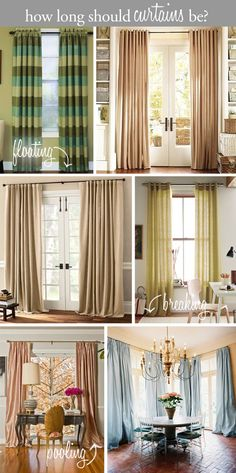 Design tip - how long should curtains be? Floating above the floor, breaking on the floor, or pooling?