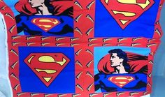 Superman Pillow Case Fabric Material Panel Bedding Red Blue DC Comics 36 x 44 In #DCComicsTrademark