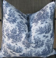 Free Shipping. Set of Two Waverly Sweet Pastimes Toile Print Pillow Covers. All Sizes Available. Housewares Home Decor Blue White - 24 x 24
