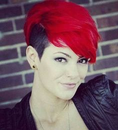 Red Hair Color for Short Hairstyles 27 Cool Haircut Short Red Hair, Short Hair With Layers, Short Hair Cuts, Short Hair Styles, Short Bright Red Hair, Short Ombre, Cool Haircut, Pixie Haircut, Haircut Long