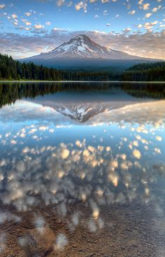 Trillium Lake. Mount Hood. Oregon.  Camping here Aug. 8th. $17 a night for a camping spot.