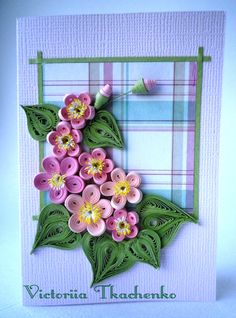 Quilling greeting card with tiny flowers