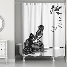 Express your spooky side during Halloween with the Halloween Friends Shower Curtain. This whimsical curtain creates a great backdrop for your Halloween-themed bathroom. Constructed from polyester and is easy to care for. Halloween Home Decor, Halloween Themes, Halloween Party, Outdoor Halloween, Halloween 2019, Teen Girl Bedding, Bathroom Shower Curtains, White Bedding, Fall Decor