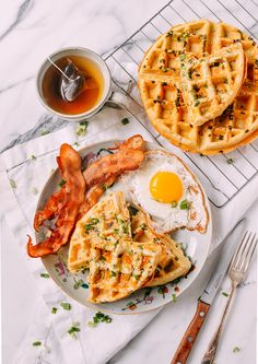 Sesame scallion waffles combine all the flavor of a scallion pancake into one of our favorite breakfast foods. They're great for freezing and reheating!