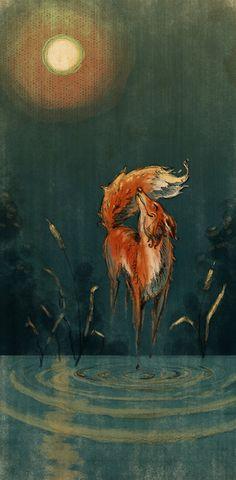 This has got to be the best fox art I have ever seen! Fox Spirit, Spirit Animal, Fox Illustration, Illustrations, Art Magique, Fox Art, Red Fox, Art Plastique, Belle Photo
