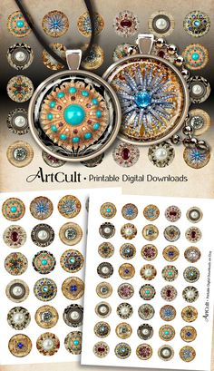 1 inch and inch size round JEWELRY Images Digital Collage Sheet Printable circles for gla