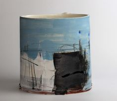 To Find a Place II - Inspired by mark making and painting, Barry takes a relaxed and direct approach to making vessels. He aims to create a sense of drama that is fresh and exciting, exploring vibrant colour compositions and exploiting the gestural qualities of fluid brush marks and soft clay. #Brighton #Art #ArtGallery