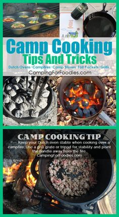 Camp Cooking Tips And Tricks! Like how to keep your Dutch oven stable while cooking! Read these Camp Cooking Tips And Tricks before you head out on your next camping trip plus you'll find recipes to make your camp cooking delicious, easy and fun! // http://www.campingforfoodies.com/camp-cooking-tips-and-tricks/
