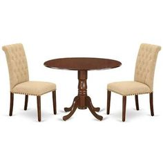 Charlton Home® Rea 3 Piece Dining Set & Reviews | Wayfair Breakfast Nook Dining Set, Dining Room Sets, Dining Room Table, Dining Area, Solid Wood Dining Set, 3 Piece Dining Set, Round Dining Table, Pub Table Sets, Table And Chair Sets