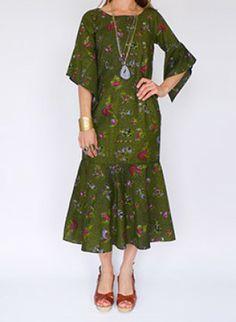 70s vintage Batik jurk www.secondhandnew.nl