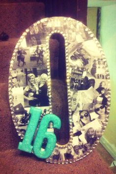 Would love to do this. Black and white collage decorated letter C with a sparky purple 16 :)