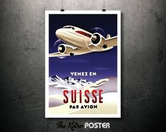 1935 Venez en Suisse Par Avion (Come to Switzerland By Air) - Poster by Herbert Matter // High Quality Fine Art Reproduction Giclée Print by TheRetroPoster on Etsy