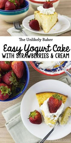 Easy Yogurt Cake with Strawberries and Cream Looking for an everyday cake? This easy yogurt cake is it. Easy to make, even easier to eat! It's a treat we deserve every day of the week. Delicious Cake Recipes, Homemade Cake Recipes, Best Dessert Recipes, Cupcake Recipes, Yummy Cakes, Easy Desserts, Baking Recipes, Cookie Recipes, Cupcake Cakes