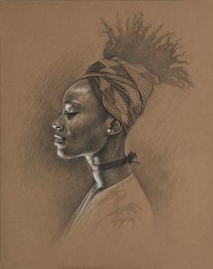 Natural hair art by Sara Golish. Amazing Drawings, Amazing Art, Art Drawings, Portrait Au Crayon, Portrait Art, African American Art, African Art, Life Drawing, Painting & Drawing
