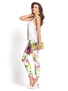Kate White Tropical Floral-Print Denim Leggings