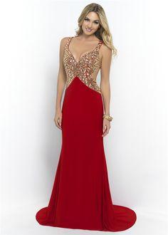 Gold Rhinestone Beaded Top Long V Neck Blush Prom 9956 Open Back Dress Sale