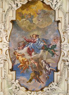Caravaggio (Bergamo, Italy) - Fresco on the ceiling of the sacristy of the Sanctuary of Caravaggio Ceiling Painting, Ceiling Art, Baroque Painting, Baroque Art, Aesthetic Painting, Aesthetic Art, Catholic Art, Religious Art, Rennaissance Art