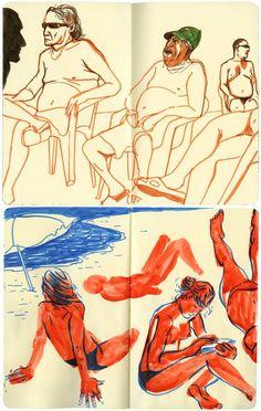 Edel Rodriguez, Barcelona sketchbook, The beach in Barcelona, 2011 (AI Archive)
