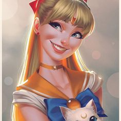 Lots of people asked for Sailor Venus, so here she is ;) Artemis almost photobombed it  #sailormoon #sailorvenus #minakoaino #sailorsenshi #sailorscout #anime #manga #illustration #portrait #blonde #cats #artemis #digitalart #digitalpainting #smile #smiling