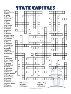 A challenging crossword puzzle to help students learn the names of the U.S. state capital cities.  Fifty clues in all.  Solution included.