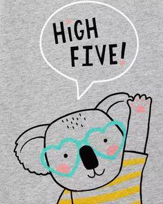 High Five Koala Jersey Tee, High Five, Girls Tees, Boys T Shirts, Animal Drawings, Cute Drawings, Cute Canvas Paintings, Kids Artwork, Cute Toddlers, Nursery Prints