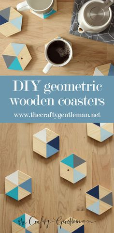 DIY wooden coasters (with geometric colour block design) – In-house Factory Wooden Coasters Diy, Modern Coasters, Modern Placemats, Wooden Diy, Color Blocking, Colour Block, Printable Water Bottle Labels, Food Storage Boxes, Wine Craft