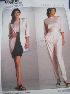 See Sally Sew-Patterns For Less - American Designer Perry Ellis Top Skirt Jacket Pants Vogue 2053 Pattern Sz. 8, $10.99 (http://stores.seesallysew.com/american-designer-perry-ellis-top-skirt-jacket-pants-vogue-2053-pattern-sz-8/)