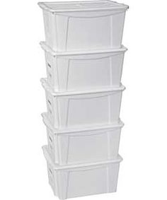 5 Plastic storage boxes with lids (18l), Argos, £14.99 H20, W30, D40 [the ones we already have in the playroom]