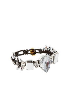 Love Rocks crystal bracelet. Features a fabric band embellished with faceted metal beads, diamante studs and jewelled glass stones, with an adjustable metal slot through clasp closure. @ http://www.asos.com