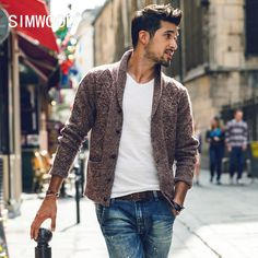 Winter Turn-down Collar Knitted Cardigans Pull Homme Plus