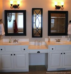Step by step instructions for removing the builder's grade bathroom mirror and replacing it for a more updated look.