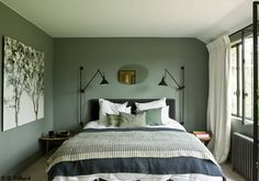 Are you looking for photography inspiration for your next home design project? Be inspired by Sarah Green Bedroom Walls, Bedroom Wall Colors, Green Rooms, Home Decor Bedroom, Sage Green Bedroom, New Room, House Design, Design Design, Interior Design
