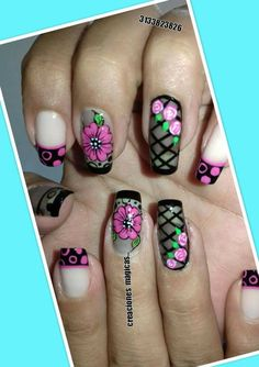 Hermosas Crazy Nail Art, Pretty Nail Art, Cute Nail Art, Nail Designs 2017, Nail Art Designs, Nail Art Printer, Luminous Nails, Fingernails Painted, Vintage Nails