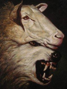 "Matthew ""Beware of false prophets who come disguised as harmless sheep but are really vicious wolves.Sounds like the pope. Renaissance Kunst, Arte Cyberpunk, Arte Horror, Werewolf, Dark Art, Art Inspo, Surrealism, Sheep, Fantasy Art"