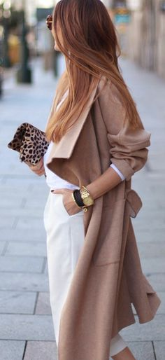 Summer Into Fall - Camel, White & Print clutch.