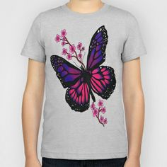 butterfly with blossom  Kids T-Shirt by Seymour Art - $20.00