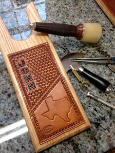 Wooden Boot Jack with Custom Hand Tooled by NTexasLeatherwork