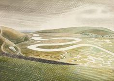 Eric Ravilious (U.K. 1903-1942)  Cuckmere Haven 1939