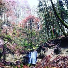 Spot me! #slackline #schmaleggertobel #waterfall #gooutside #nature #explorenature by rock__hunter