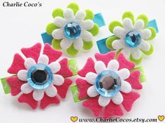Flower Pigtail Hair Clips Set for Little Girls by CharlieCoco's, $10.95