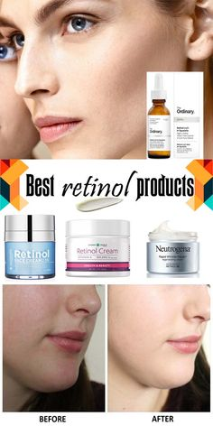 Retinol before and after – Retinol is one ingredient in skincare that prevents premature aging such as wrinkles and fine lines. To slow this down, using retinol products and creams is the right choice. Retinol Creme, Retinol For Acne, Anti Aging Tips, Anti Aging Skin Care, Serum, Best Face Products, Beauty Products, Beauty Tips, Skin Products