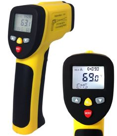 Awesome dual-laser infrared thermometer from ennoLogic: Measures surface temperatures from -58°F to 1202°F. Lots of features including temperature alarms, continuous scan with max/min/average display, adj. emissivity, and lock function for hands-free use.