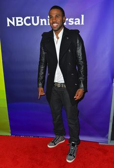 Jason Derulo Sports Burberry Trenchcoat and Christian Louboutin Louis Ring Strass Men's Flat Sneakers