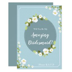 "Dainty Daisy ""Will You Be My Bridesmaid?"" Card - invitations personalize custom special event invitation idea style party card cards"